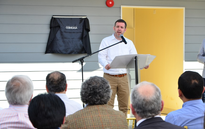 El Gerente General de Coexca S.A., Guillermo García, destacó en su discurso la generación de empleos a partir de la puesta en operación del centro productor porcino.