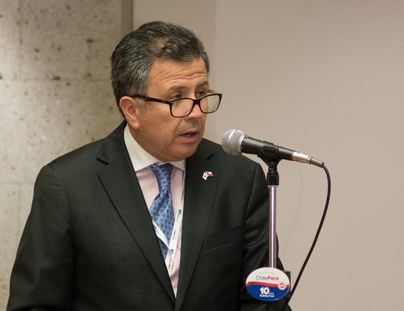 During the opening ceremony, Ambassador Gustavo Ayares noted the prestigious position won by Chilean pork since the first container arrived in Japan 20 years ago.